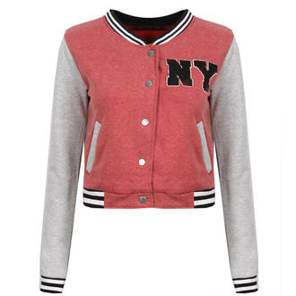 View Item Wine Red Cropped Baseball Jacket